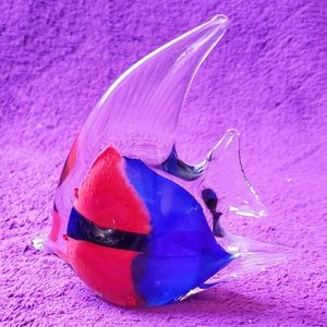 Red & Blue Hand Blown Glass Angel Fish